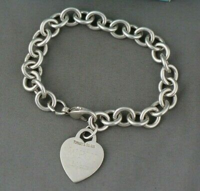 "Tiffany & Co. Sterling Silver Heart Tag Clasp 8"" Bracelet *Monogrammed JHM* *"
