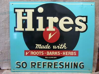 HUGE Vintage 1950s Embossed Hires Root Beer Sign > Antique Signs Soda Cola 7782