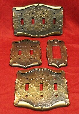 4 Vtg Amerock Carriage House Brass Lot Light Switch Plate Cover Outlet cover set
