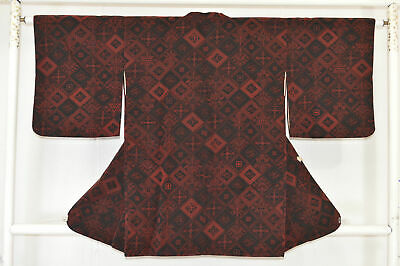 Vintage Japanese Ladies' Black/Red Velvet 'Diamonds' Michiyuke Kimono Coat S/M