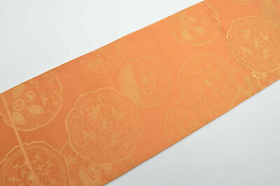 Vintage Japanese Light Orange Reversible 'Hand Mirror' Fukuro-Obi 4 Kimono/Craft
