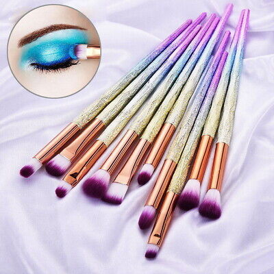 10 Pcs Eyeshadow Brush Set Diamond Eyebrow Eye Make up Brushes Tools