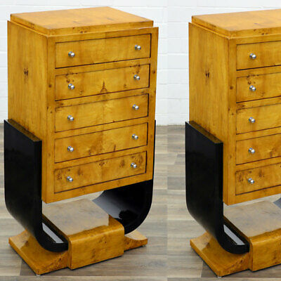 ART DECO KOMMODE mit 5-SCHUBLADEN, Ahornfurniert elitär U-FORM HIGHBOARD COMMODE