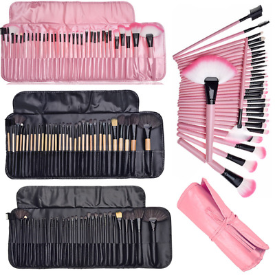 Professional 32 Pcs Kabuki Make Up Brush Set and Cosmetic Brushes Case Bag