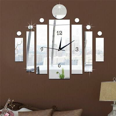 UK 3D Number Mirror Art Clock Wall Sticker Big Watch DIY Large Home Room Decor