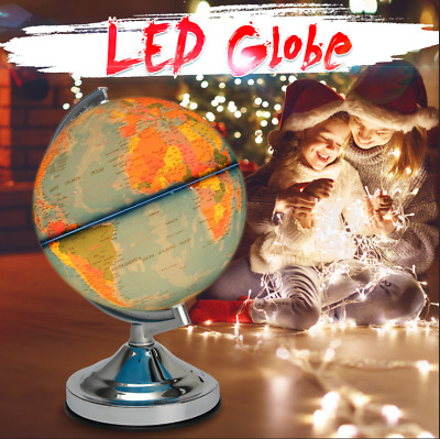 🔥 Illuminated World Globe Map Earth Geography Educational Toys Gift with Stand