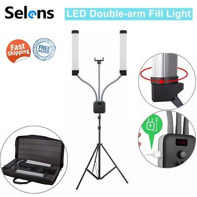 Dimmable Photography Studio Video Live LED Fill Light 2-Heads + 2M Light Stand