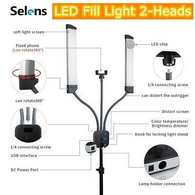 Selens Dimmable LED Fill Light 2-Heads for Photography Vlog Studio Video Live