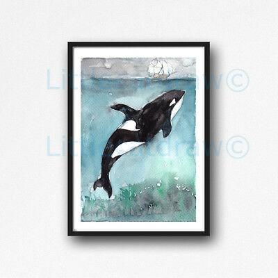 Orca Under The Sea Killer Whale Watercolour Painting PRINT 8x10 Wall Art