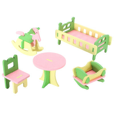 Retro Doll House Miniature Nursery Room Wooden Furniture Set Kids Role Play