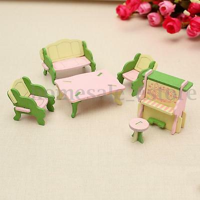 Retro Doll House Miniature Guest Room Wooden Furniture Set Kids Pretend Play