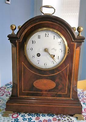 French Inlaid Mahogany Bracket Clock in Working Order