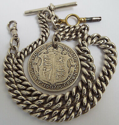 SUPERB HEAVY 68g ENGLISH ANTIQUE 1901 SOLID STERLING SILVER ALBERT CHAIN & FOB