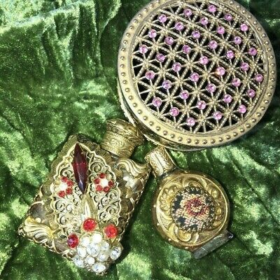 Vintage PERFUME BOTTLES scent rhinestone needlepoint petit point + trinket box