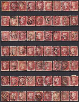 GB 1d PENNY RED PLATES SELECTION  SG43 SG44