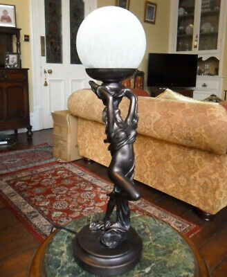 Art Deco Bronze Handpainted Lady Dancer with Scarf Lamp Light Glass...