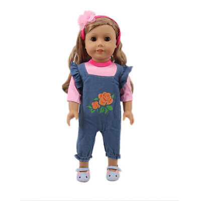 "Fits 18""Inch American Girl Doll Printed Jumpsuit Two-Piece+Headscarf Accessories"