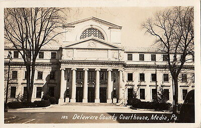 Postcard RPPC Delaware County Courthouse Media PA