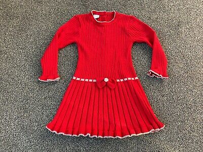 Granlei Girls Age 5 Knitted Style Spanish Dress Red Party Christmas Day Outfit