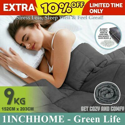 1inchome 9KG Weighted Blanket Cotton Heavy Gravity Deep Relax Adult Dark Grey