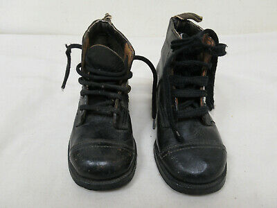 Antique Handmade Black Leather Child's Lace Up Boots