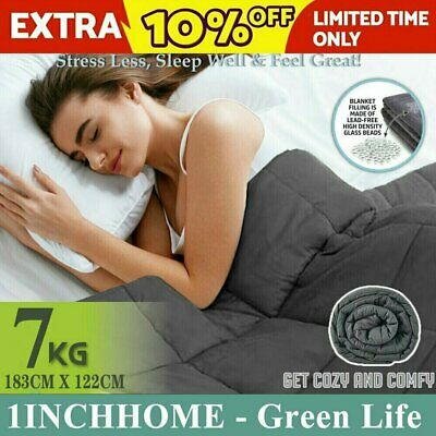 1INCHHOME 7KG Weighted Blanket Cotton Heavy Gravity Deep Relax Adult Dark Grey