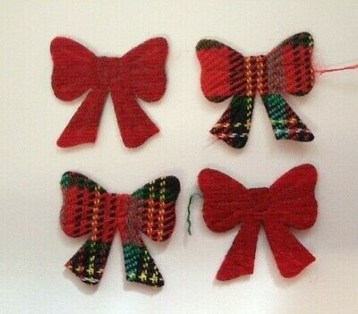 50 Tartan Fabric Bows Christmas Card Making Scrapbook Craft Embellishments