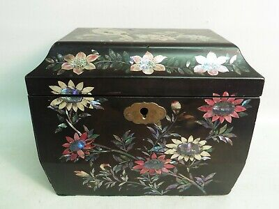 Antique Japanese Meiji Period Black Lacquered Mother Of Pearl Inlaid Tea Caddy