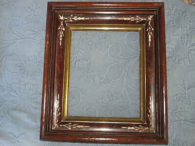 Antique Eastlake Victorian Walnut Deep Well Picture Frame, 8 by 10