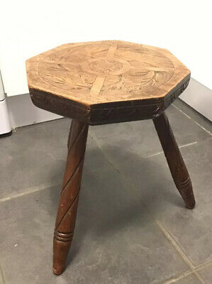 "VICTORIAN Solid Oak ? Bespoke Wooden 3 Legged Milking Stool Plant stand 13"" Tall"