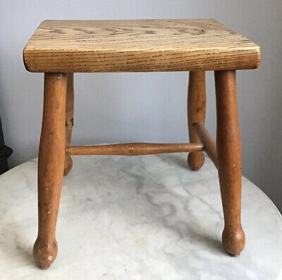 "VICTORIAN Solid Oak ? Bespoke Wooden 4 Legged Milking Stool Plant stand 13"" Tall"