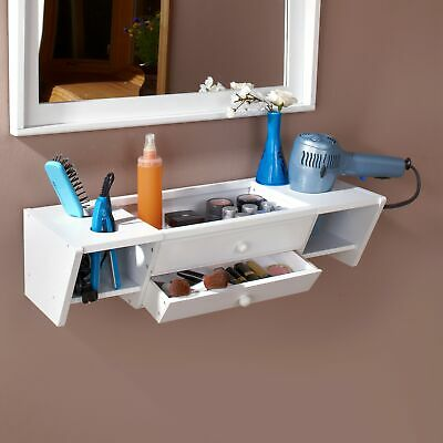 Wall-Mounted Bathroom Vanity and Accessory Shelf for Makeup, Toiletries