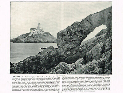 Mumbles Head Lighthouse Swansea Wales 1895 Antique Print Old Picture RTC#102