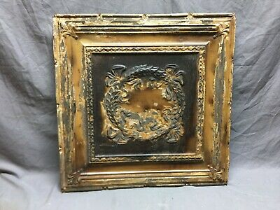"Antique Decorative Tin Metal Ceiling 2' x 2'  Shabby Vtg 24"" SQ Chic Old 53-19B"