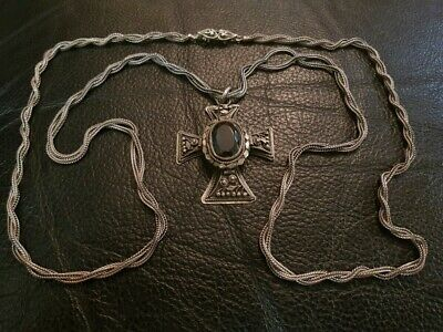MAGNIFICENT BULKY Greek ANTIQUE Orthodox Ottoman era filigree silver cross XIXc.