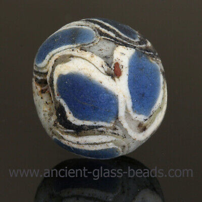 Ancient glass beads: LARGE genuine ancient bead with stratified eyes