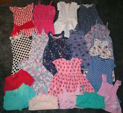 Girls 5-6 Years Summer Bundle 19 Items Dresses, Tunics,Vests & Shorts,