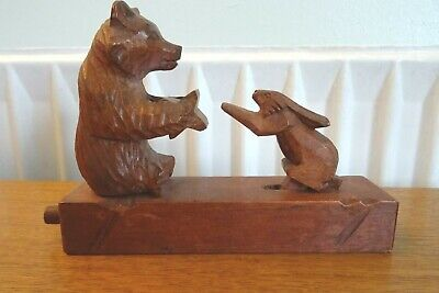 Antique Black Forest Hand Carved Bear & Rabbit - Moveable Novelty Carving.
