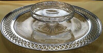 Sterling Silver And Cut Glass Round Serving Dish/Hors D'oeuvre Dish/Compote
