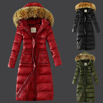 Womens Winter Padded Quilted Coat Puffer Fur Collar Hooded Jacket Longline Parka