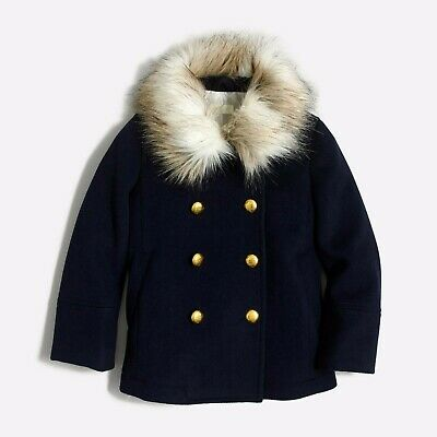 EUC Girls JCrew Crewcuts Size 10 Navy Faux-Fur Collar Double Breasted Peacoat