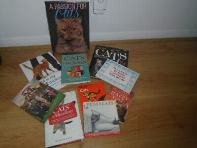 Bundle of 10 cat themed books - humour, Downton tabby, behaviour, reference etc.