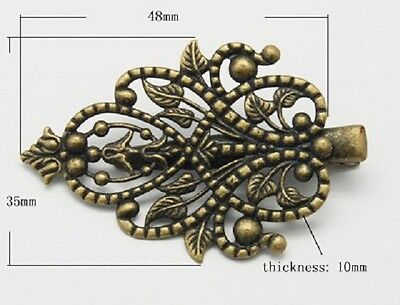 5 Alligator Hair Clips Bronze Filigree Pad Accessory Making Teardrop Craft DIY