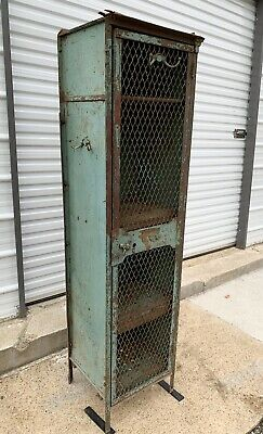 Antique Industrial Steel Locker Metal Storage Cabinet School Gym Chippy Vintage