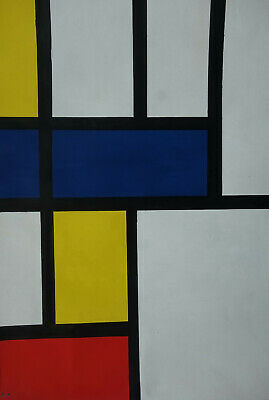 Fine Abstract expressionism, Mondrian, original oil painting Signed