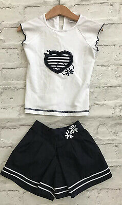 *SARAH LOUISE* White Top Shorts Blue Set (4 Years ) Outfit Heart