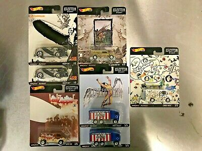 LOT of 7 Hot Wheels Led Zeppelin Pop Culture Set Combat Medic Austin Mini Hiway