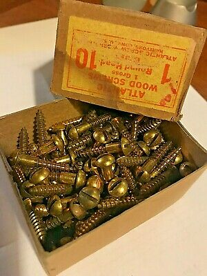"#10x1"" Round Head Slotted Wood Screws Solid Brass   1 Gross"