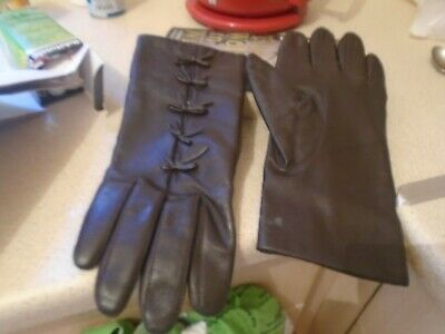 Smart Ladies Brown Soft  Real Leather Driving Gloves Large