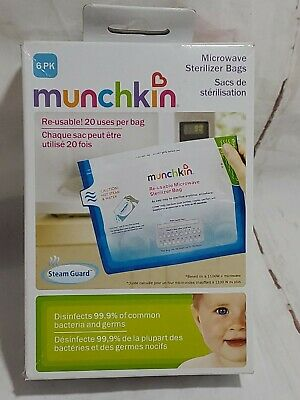Munchkin Microwave Sterilizer Bags Reusable 6 Pack New